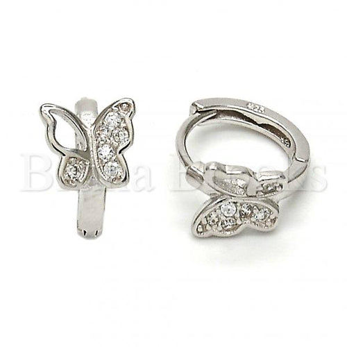 Bruna Brooks Sterling Silver 02.175.0035.15 Huggie Hoop, Butterfly Design, with White Micro Pave, Polished Finish, Rhodium Tone