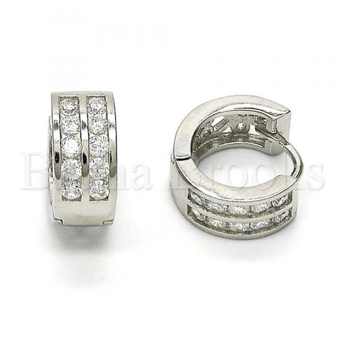 Bruna Brooks Sterling Silver 02.174.0066.15 Huggie Hoop, with White Cubic Zirconia, Polished Finish, Rhodium Tone