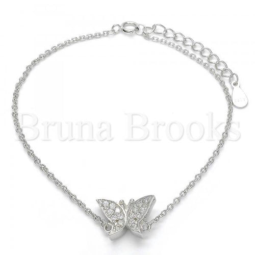 Bruna Brooks Sterling Silver 03.336.0019.07 Fancy Bracelet, Butterfly Design, with White Crystal, Polished Finish, Rhodium Tone