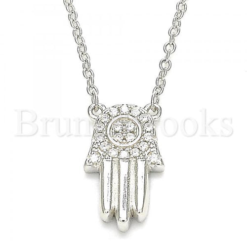 Bruna Brooks Sterling Silver 04.336.0207.16 Fancy Necklace, Hand of God Design, with White Crystal, Polished Finish, Rhodium Tone