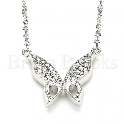 Bruna Brooks Sterling Silver 04.336.0160.16 Fancy Necklace, Butterfly Design, with White Crystal, Polished Finish, Rhodium Tone