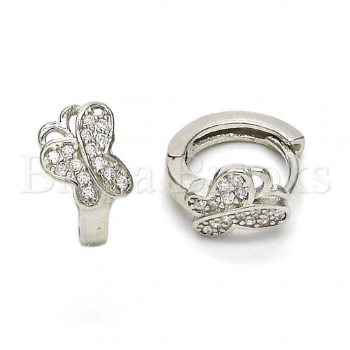 Bruna Brooks Sterling Silver 02.175.0086.15 Huggie Hoop, Butterfly Design, with White Crystal, Polished Finish, Rhodium Tone