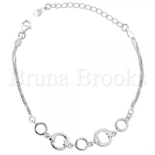 Bruna Brooks Sterling Silver 03.183.0045 Fancy Bracelet, Polished Finish, Rhodium Tone