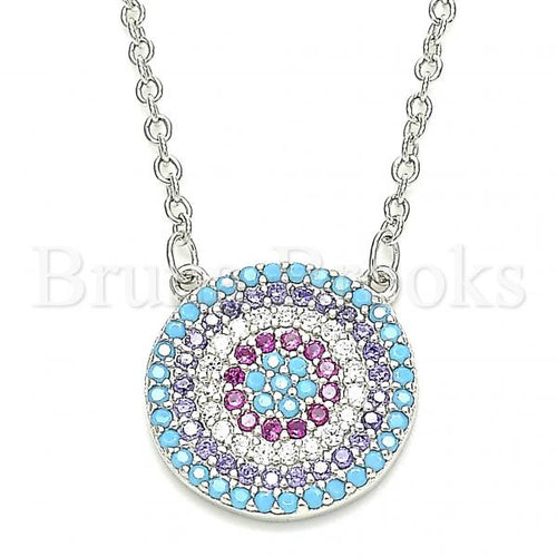 Bruna Brooks Sterling Silver 04.336.0220.16 Fancy Necklace, with Multicolor Cubic Zirconia, Polished Finish, Rhodium Tone