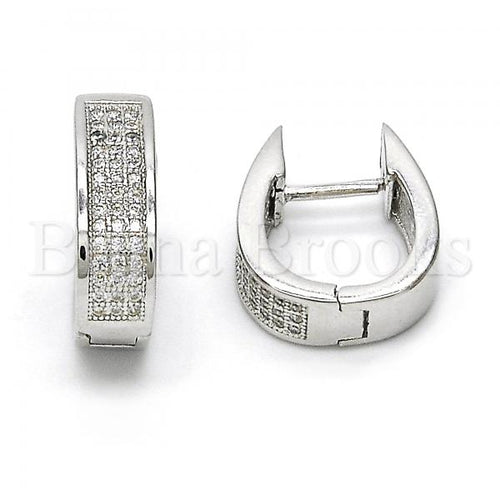 Bruna Brooks Sterling Silver 02.174.0061.15 Huggie Hoop, with White Micro Pave, Polished Finish, Rhodium Tone