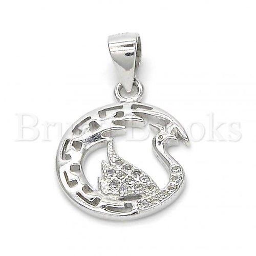 Bruna Brooks Sterling Silver 05.336.0016 Fancy Pendant, Swan Design, with White Micro Pave, Polished Finish, Rhodium Tone