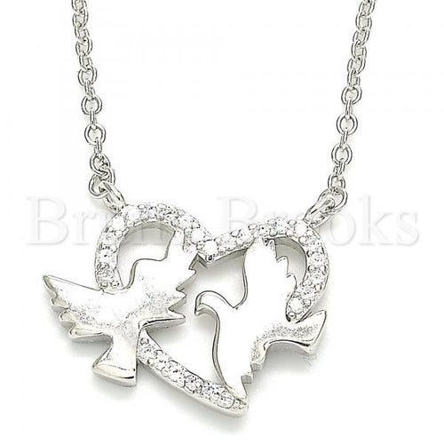 Bruna Brooks Sterling Silver 04.336.0183.16 Fancy Necklace, Bird and Heart Design, with White Micro Pave, Polished Finish, Rhodium Tone