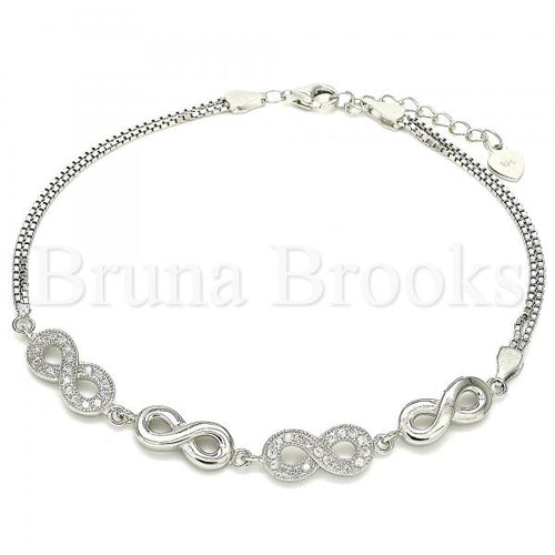 Bruna Brooks Sterling Silver 03.286.0022.08 Fancy Bracelet, Infinite Design, with White Micro Pave, Polished Finish, Rhodium Tone