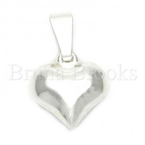 Bruna Brooks Sterling Silver 05.16.0208 Fancy Pendant, and Heart Polished Finish, Silver Tone