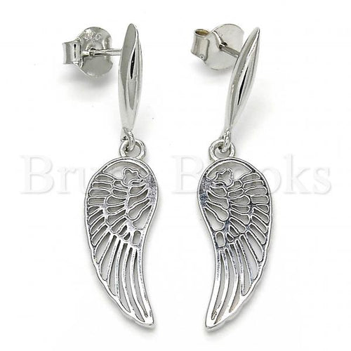 Bruna Brooks Sterling Silver 02.337.0001 Long Earring, Polished Finish, Rhodium Tone