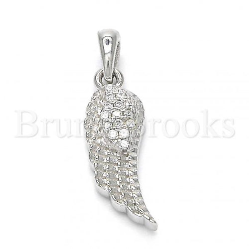 Bruna Brooks Sterling Silver 05.336.0025 Fancy Pendant, with White Crystal, Polished Finish, Rhodium Tone