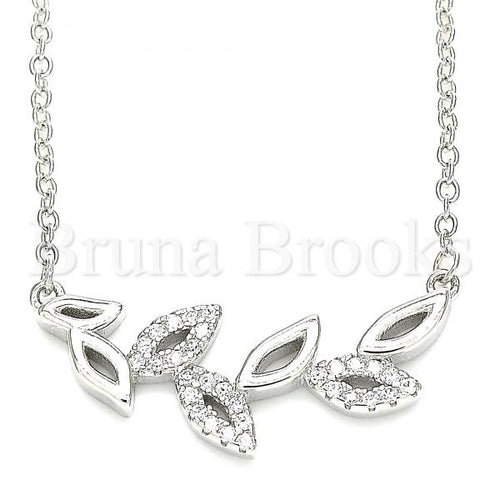Bruna Brooks Sterling Silver 04.336.0195.16 Fancy Necklace, Leaf Design, with White Crystal, Polished Finish, Rhodium Tone