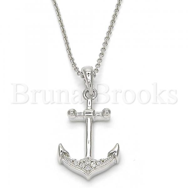 Sterling Silver 05.336.0002 Fancy Pendant, Anchor Design, with White Crystal, Polished Finish, Rhodium Tone