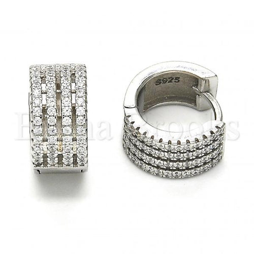 Bruna Brooks Sterling Silver 02.175.0074.15 Huggie Hoop, with White Crystal, Polished Finish, Rhodium Tone