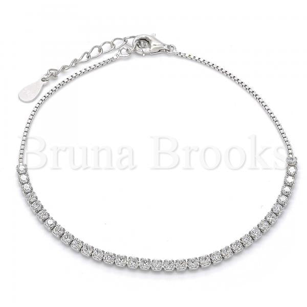 Sterling Silver Fancy Bracelet, with Crystal, Rhodium Tone