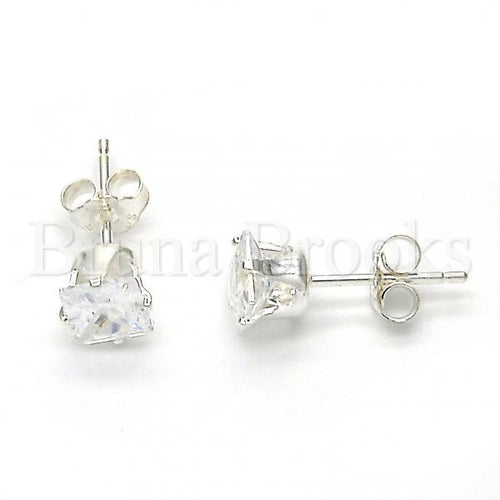 Bruna Brooks Sterling Silver 02.63.2616 Stud Earring, with White Cubic Zirconia, Polished Finish,