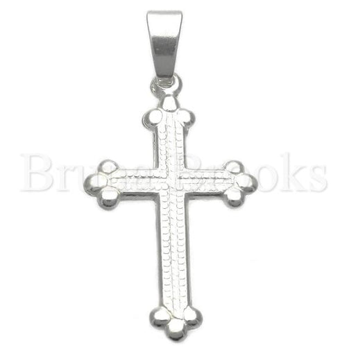 Bruna Brooks Sterling Silver 05.16.0191 Religious Pendant, Cross Design, Polished Finish, Silver Tone