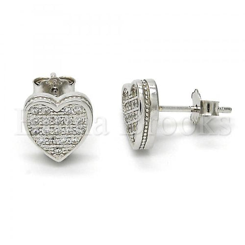 Bruna Brooks Sterling Silver 02.175.0098 Stud Earring, Heart Design, with White Micro Pave, Polished Finish, Rhodium Tone