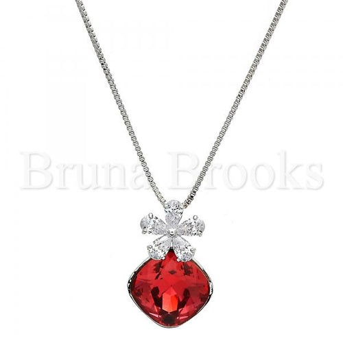 Rhodium Plated Fancy Necklace, Flower and Box Design, with Swarovski Crystals and Cubic Zirconia, Rhodium Tone