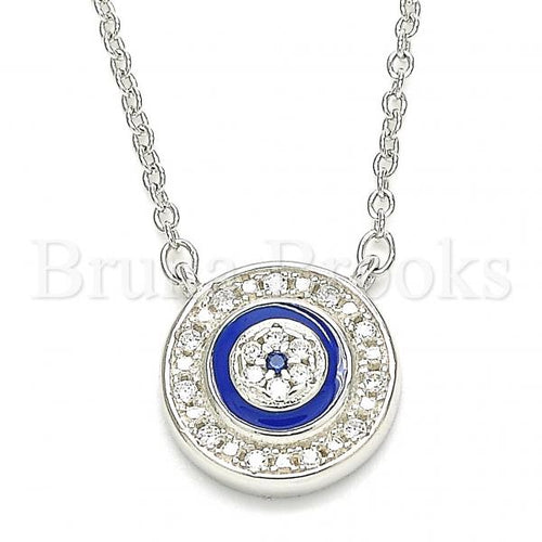 Bruna Brooks Sterling Silver 04.336.0205.16 Fancy Necklace, with White Crystal, Blue Enamel Finish, Rhodium Tone