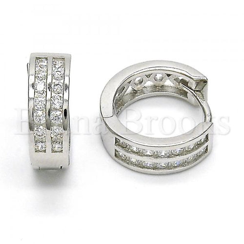 Bruna Brooks Sterling Silver 02.286.0004.15 Huggie Hoop, with White Cubic Zirconia, Polished Finish, Rhodium Tone