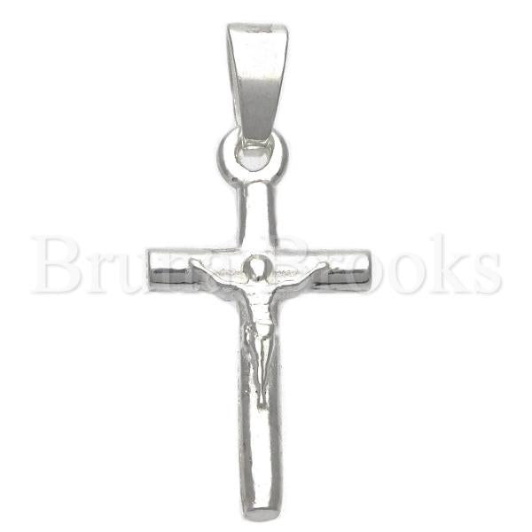 Bruna Brooks Sterling Silver 05.16.0189 Religious Pendant, Crucifix Design, Polished Finish, Silver Tone
