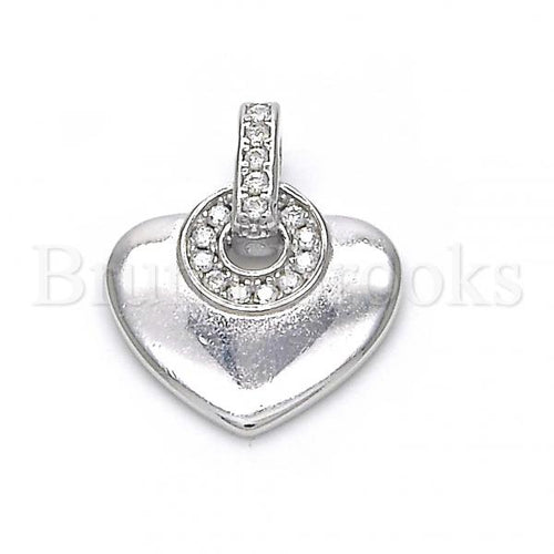 Bruna Brooks Sterling Silver 05.336.0014 Fancy Pendant, Heart Design, with White Crystal, Polished Finish, Rhodium Tone