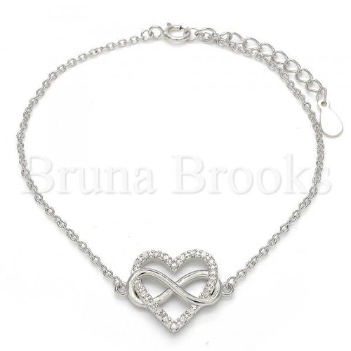 Bruna Brooks Sterling Silver 03.336.0004.07 Fancy Bracelet, Heart and Infinite Design, with White Crystal, Polished Finish, Rhodium Tone