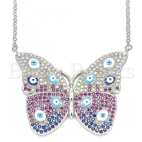 Bruna Brooks Sterling Silver 04.336.0215.16 Fancy Necklace, Butterfly and Greek Eye Design, with White Micro Pave, Multicolor Enamel Finish, Rhodium Tone