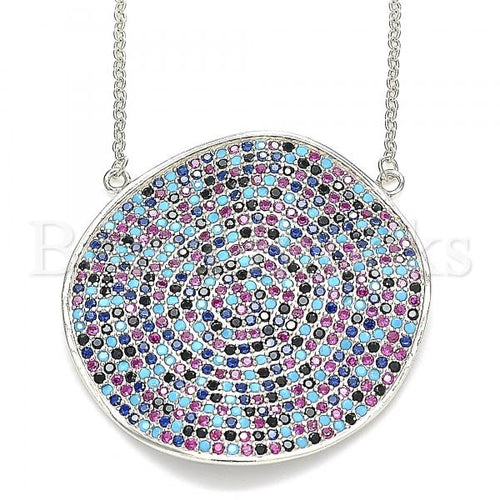Bruna Brooks Sterling Silver 04.336.0224.16 Fancy Necklace, with Multicolor Micro Pave, Polished Finish, Rhodium Tone