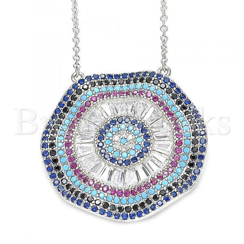 Bruna Brooks Sterling Silver 04.336.0218.16 Fancy Necklace, with White Cubic Zirconia and Multicolor Micro Pave, Polished Finish, Rhodium Tone