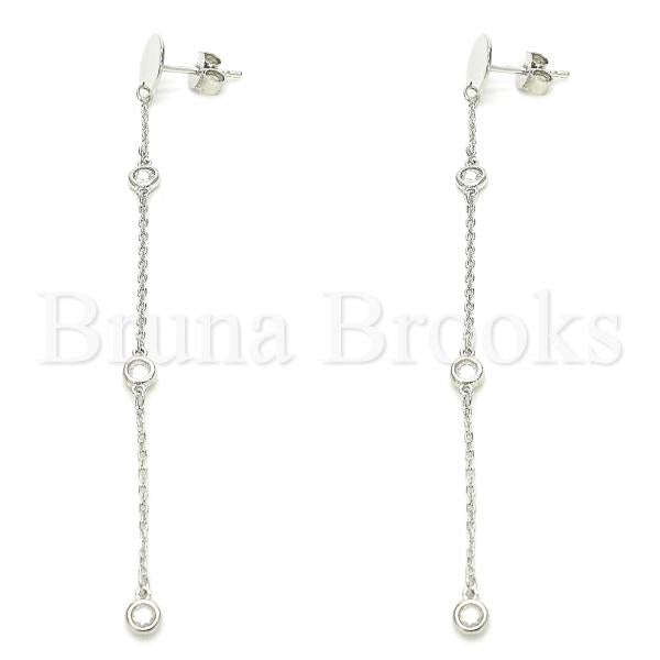 Sterling Silver Long Earring, with Cubic Zirconia, Rhodium Tone