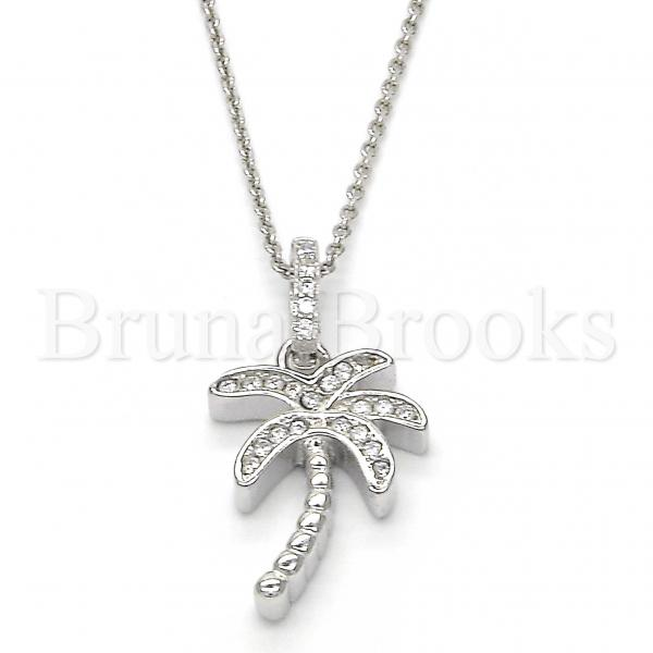 Sterling Silver 05.336.0029 Fancy Pendant, Tree Design, with White Crystal, Polished Finish, Rhodium Tone