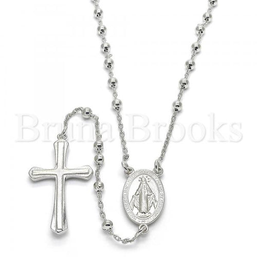 Bruna Brooks Sterling Silver 09.285.0004.28 Thin Rosary, Virgen Maria and Cross Design, Polished Finish, Rhodium Tone