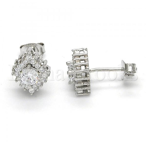 Bruna Brooks Sterling Silver 02.285.0077 Stud Earring, with White Cubic Zirconia, Polished Finish,