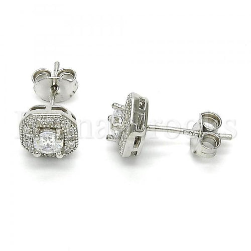Sterling Silver Stud Earring, with Cubic Zirconia and Micro Pave, Rhodium Tone
