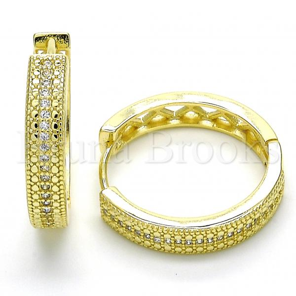Sterling Silver Huggie Hoop, with Micro Pave, Rhodium Tone