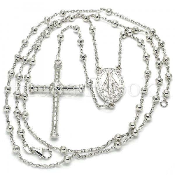 Sterling Silver 09.285.0001.28 Thin Rosary, Virgen Maria and Cross Design, Polished Finish, Rhodium Tone