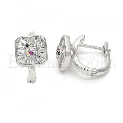 Bruna Brooks Sterling Silver 02.186.0116.12 Huggie Hoop, with Multicolor Cubic Zirconia, Polished Finish, Rhodium Tone