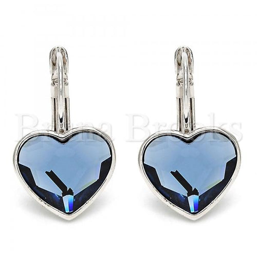 Rhodium Plated Leverback Earring, Heart Design, with Swarovski Crystals, Rhodium Tone