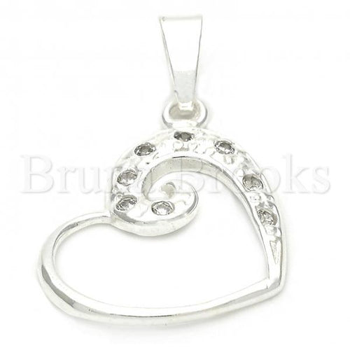 Bruna Brooks Sterling Silver 05.16.0210 Fancy Pendant, and Heart with White Crystal, Polished Finish, Silver Tone