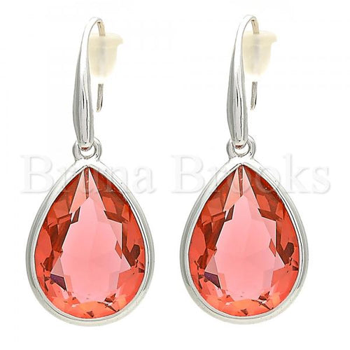 Rhodium Plated Dangle Earring, Teardrop Design, with Swarovski Crystals, Rhodium Tone