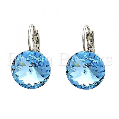 Rhodium Plated Leverback Earring, with Swarovski Crystals, Rhodium Tone