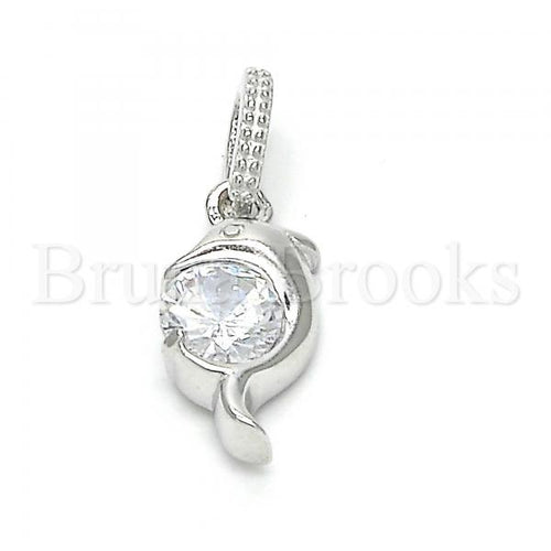 Bruna Brooks Sterling Silver 05.336.0011 Fancy Pendant, Dolphin Design, with White Cubic Zirconia, Polished Finish, Rhodium Tone