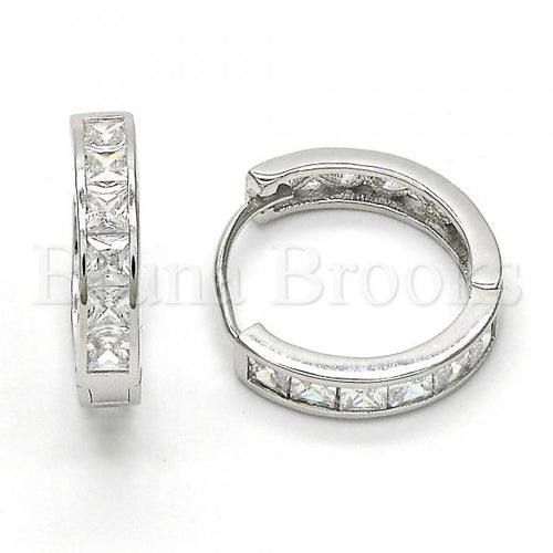 Bruna Brooks Sterling Silver 02.174.0054.20 Huggie Hoop, with White Cubic Zirconia, Polished Finish, Rhodium Tone