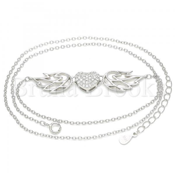 Sterling Silver 04.336.0198.16 Fancy Necklace, Heart Design, with White Crystal, Polished Finish, Rhodium Tone