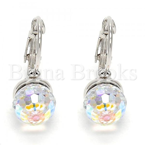 Rhodium Plated Leverback Earring, Disco Design, with Swarovski Crystals, Rhodium Tone