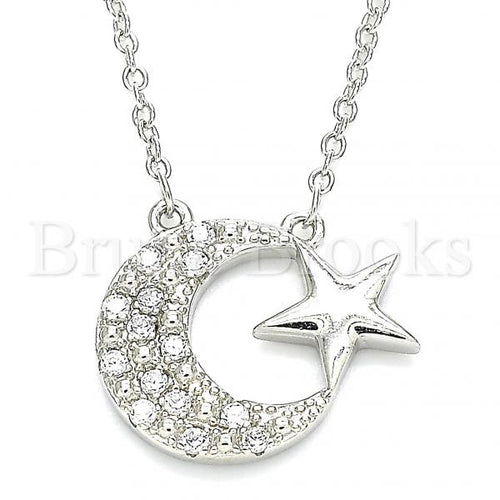 Bruna Brooks Sterling Silver 04.336.0179.16 Fancy Necklace, Moon and Star Design, with White Crystal, Polished Finish, Rhodium Tone