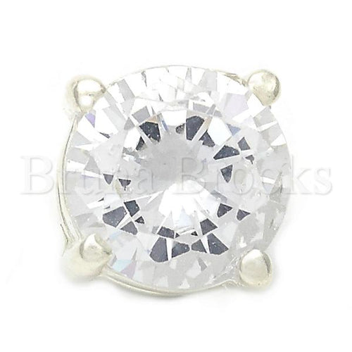 Bruna Brooks Sterling Silver 05.16.0215 Fancy Pendant, with White Cubic Zirconia, Polished Finish, Silver Tone