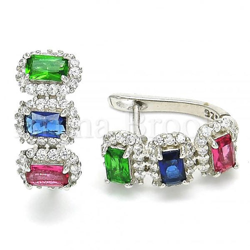 Bruna Brooks Sterling Silver 02.186.0189.15 Huggie Hoop, with Multicolor Cubic Zirconia, Polished Finish, Rhodium Tone
